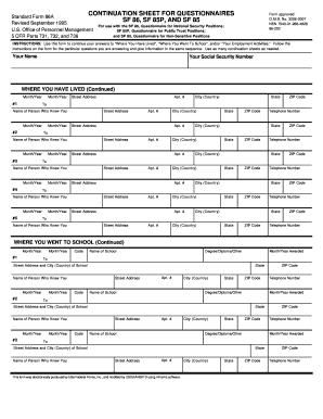 Fillable Online Continuation sheet for questionnaires sf 86, sf ...