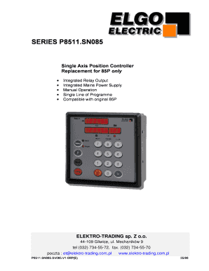 Fillable Online SERIES P85 - Elektro-Trading Fax Email Print - PDFfiller