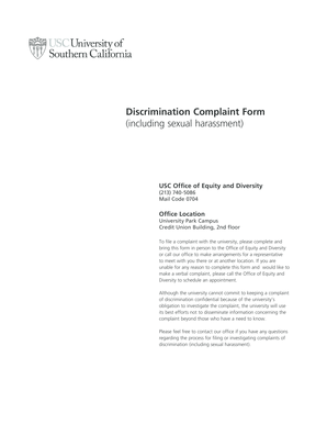 Discrimination Complaint Form - Office of Equity and Diversity - equity usc
