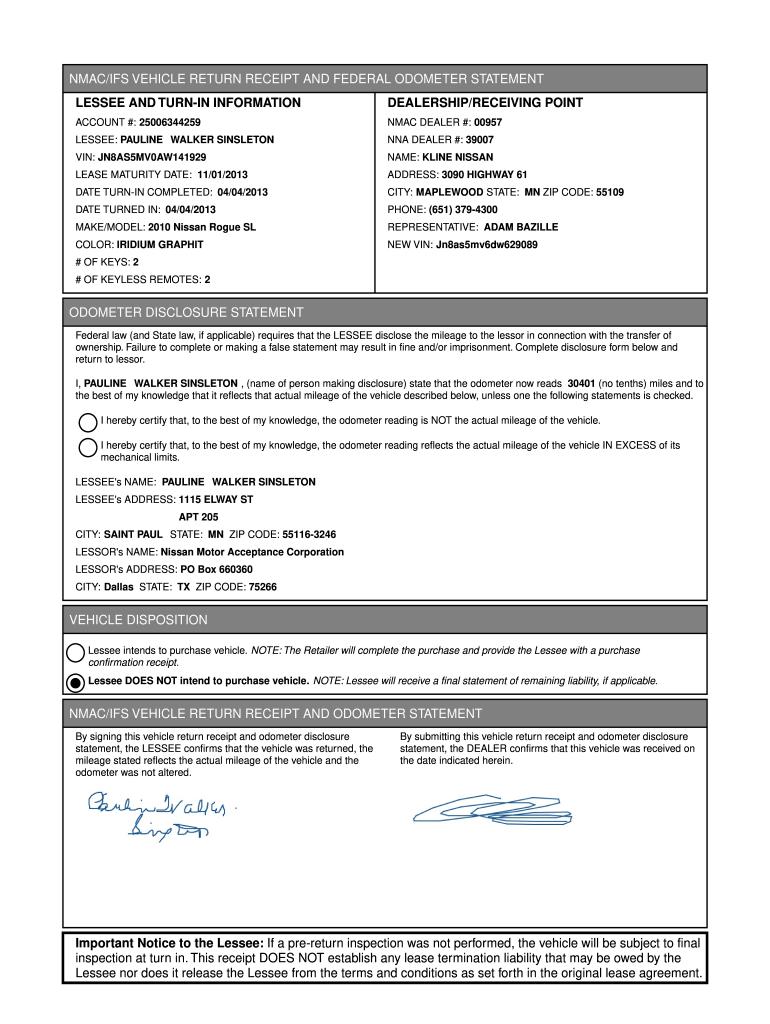 Blank Odometer Form Nissan Fill Online Printable