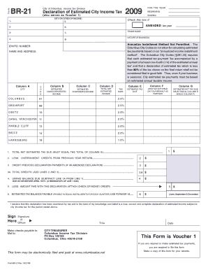Fillable Online columbustax Form BR-21 City of Columbus, Income ...