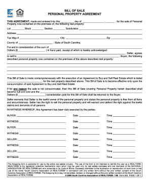 BILL OF SALE PERSONAL PROPERTY AGREEMENT - pu b5z