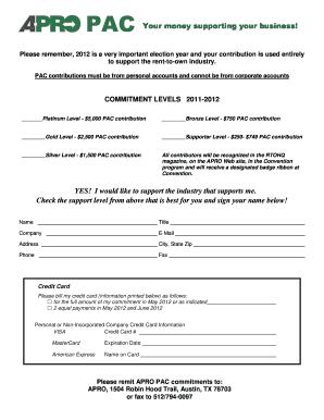 Fillable Online Download Rent To Own Dealer APRO PAC Pledge Form