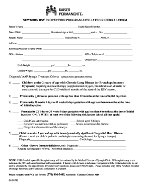 Fillable Online providers kp Synagis clinic referral form - Kaiser ...