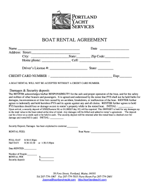 Fillable Online Boat Rental Agreement Two Pages Portland