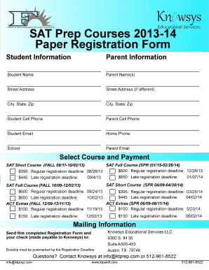 Fillable Online friscoisd SAT Prep Courses 2013-14 Paper ...