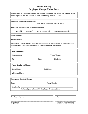 employee notice form