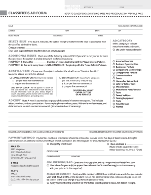 form to fill to sell magazine adverts