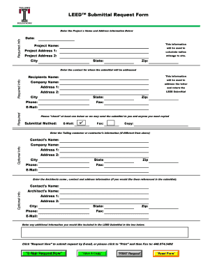 Fillable Online LEED Submittal Request Form Fax Email Print ...