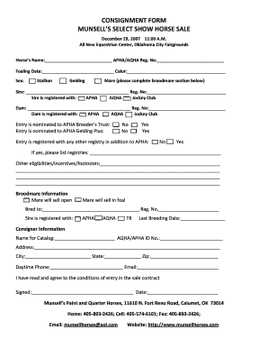 Consignment form munsell's select show horse sale - Munsellhorses