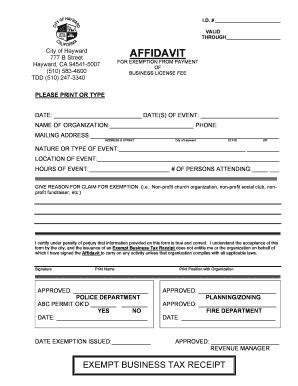 Hayward, California Business License & Business Permit List