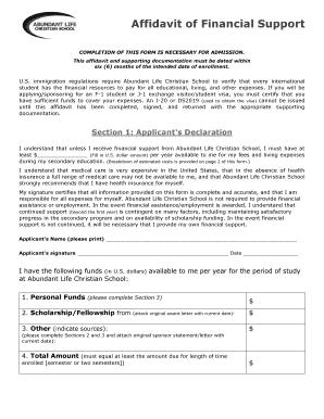 Printable affidavit of support for visitor visa sample
