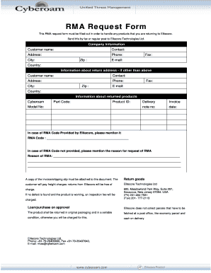 Fillable Online This RMA request form must be filled out in order ...