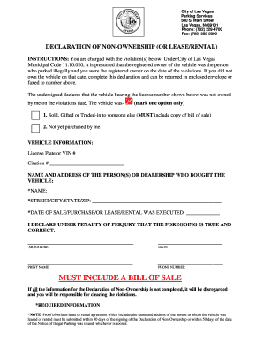 Declaration of ownership forms and templates fillable for Non ownership of motor vehicle affidavit