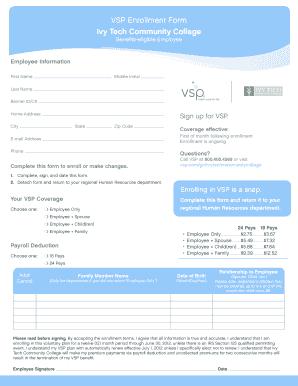 Fillable Online ivytech gabenefits VSP Enrollment Form ...