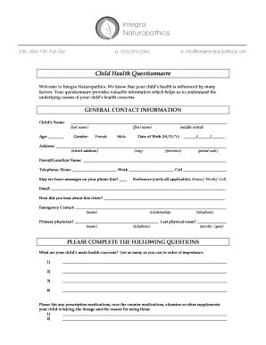 Child Intake Form.doc. Health Survey Questionnaire