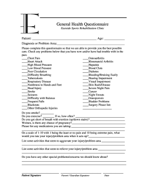 Fillable Online General Health Questionnaire1.doc. Form # 12-022 ...