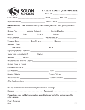 Student Health Questionnaire Student Health Questionnaire - solonschools
