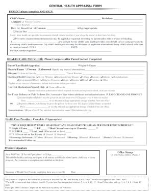 2007-2017 Form CO General Health Appraisal Form Fill Online ...