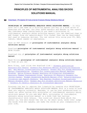 fillable online principles of instrumental analysis skoog solutions rh pdffiller com Myer Skoog Skoog Will