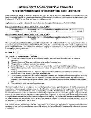 FEES FOR PRACTITIONER OF RESPIRATORY CARE LICENSURE