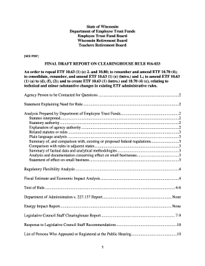 FINAL DRAFT REPORT ON CLEARINGHOUSE RULE #16-033