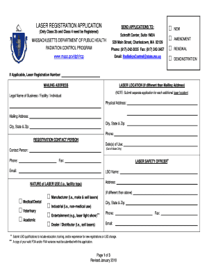 Laser Registration Form. Laser Registration