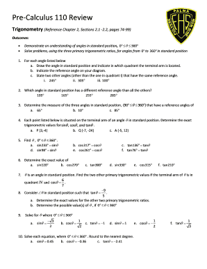 Pre-Calculus 110 Review - nbed.nb.ca