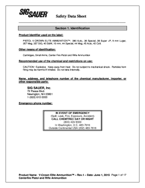 Fillable Online MSDS -- SIG Centerfire Ammunition Fax Email