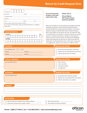 Fillable Online Return For Credit Request Form Fax Email Print