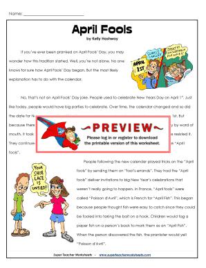 Fillable Online April Fools - Super Teacher Worksheets Fax Email ...