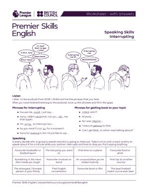 Fillable Online Lesson plan - Speaking Skills - Interrupting