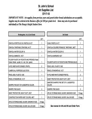 Fillable Online Art Supply List , St. John\u0027s School Fax