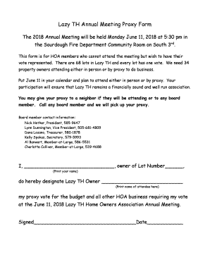 Fillable Online Lazy TH Annual Meeting Proxy Form - Lazy TH Estates