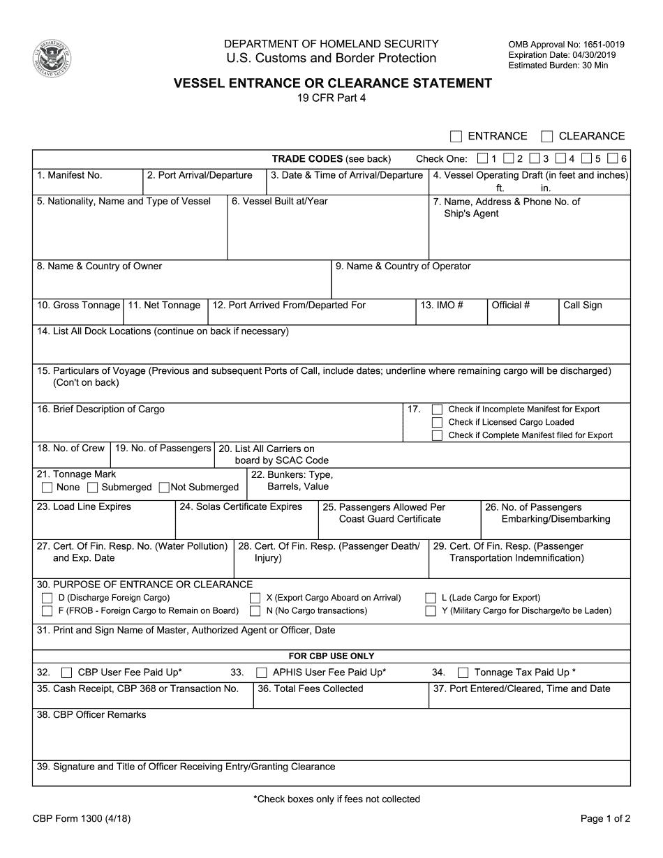 cbp form 1304