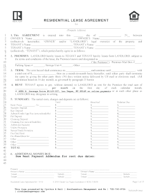 Fillable Nevada Rental Lease Agreement Form Edit Online