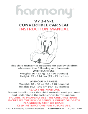 V7 3 IN 1 CONVERTIBLE CAR SEAT INSTRUCTION