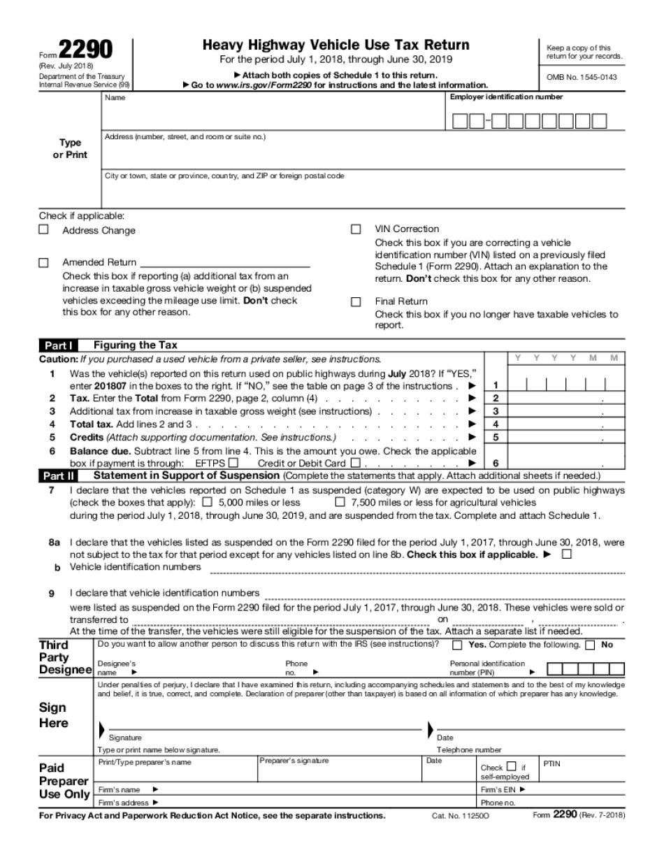 2290 form mailing address  Electronic IRS Form 12 12 - 12 - Printable PDF Sample