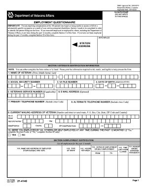 Fillable Online Va Form 21 4140 Veterans Benefits Administration