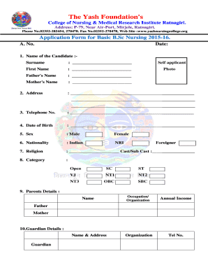 Fillable Online BSC NURSING Application Form Repaired Fax Email