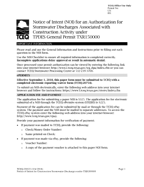 Notice of Intent (NOI) for an Authorization for Stormwater Discharges