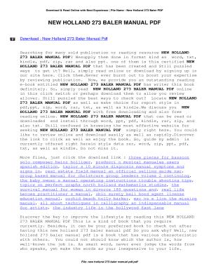 New Holland 273 Baler Manual Download Fill Online Printable Fillable Blank Pdffiller
