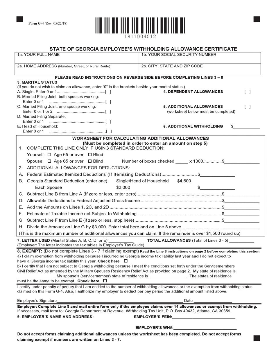Georgia G-4 Form