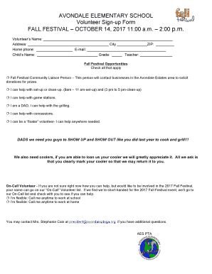 fillable online volunteer sign up form p m fax email print pdffiller