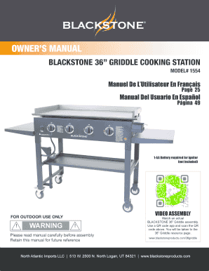 Fillable Online Blackstone 36 Griddle Cooking Station Fax Email Print Pdffiller