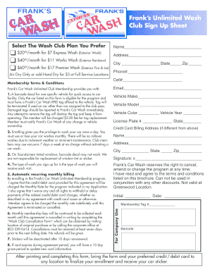 Fillable Online Wash Club Enrollment Form Right 2 18 Rev Fax Email