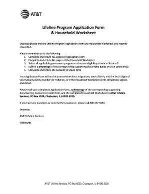 Fillable Online Lifeline Program Application Form &