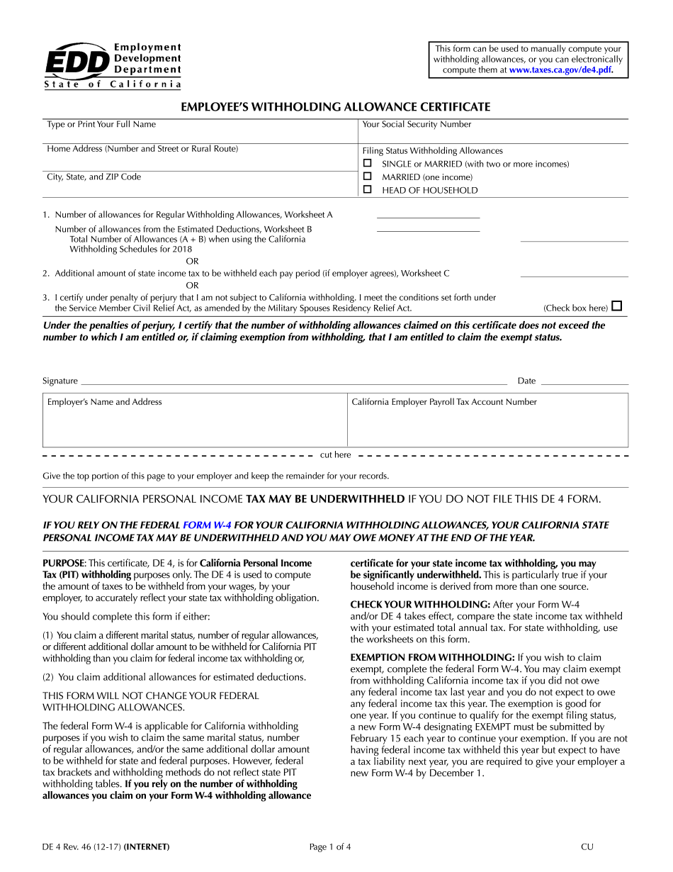 California DE4 Form
