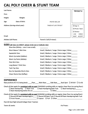 Fillable Online CAL POLY CHEER & STUNT TEAM Fax Email Print