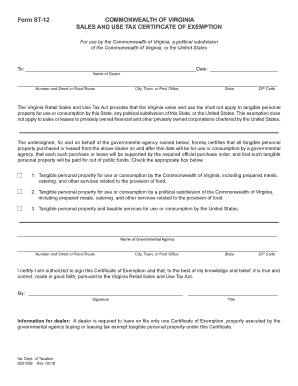 Virginia State Sales Tax >> 2016 2019 Form Va Dot St 12 Fill Online Printable Fillable